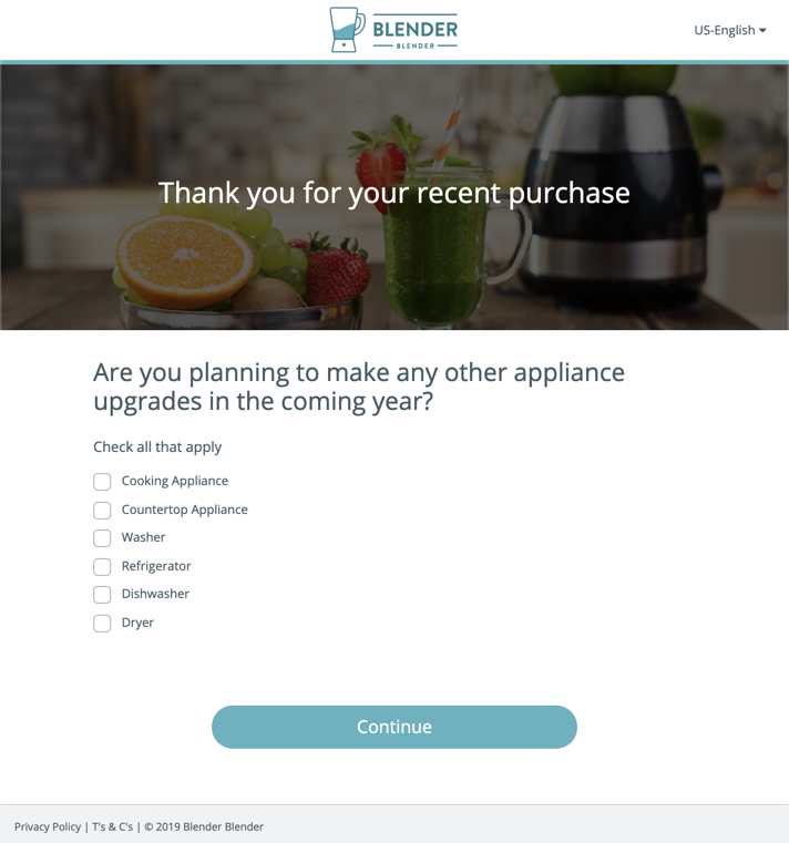 Dynamic Surveys from Product Registration